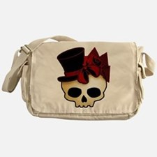 Cute Gothic Skull In Top Hat Messenger Bag