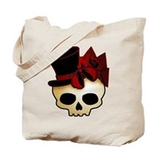 Cute Gothic Skull In Top Hat Tote Bag