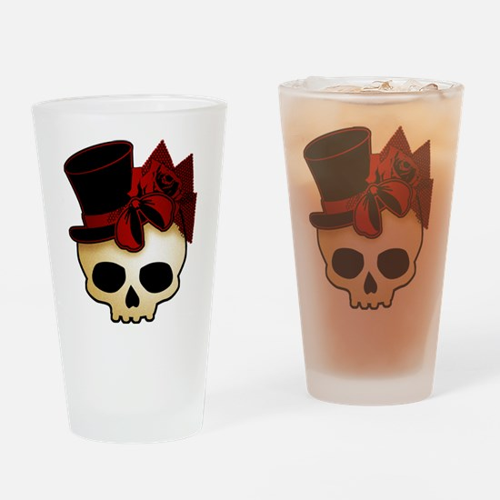 Cute Gothic Skull In Top Hat Drinking Glass