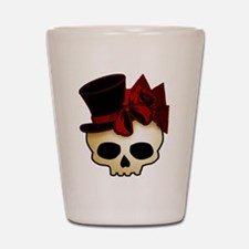 Cute Gothic Skull In Top Hat Shot Glass