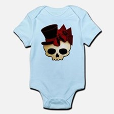 Cute Gothic Skull In Top Hat Infant Bodysuit