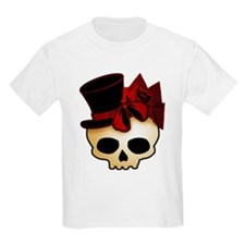 Cute Gothic Skull In Top Hat T-Shirt