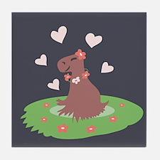 Capybara in Love Tile Coaster