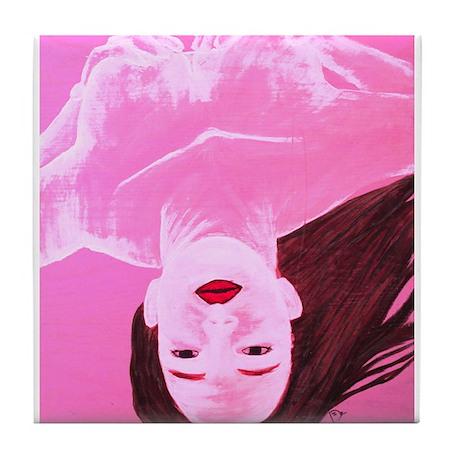 Wishing Water Pink Tile Coaster