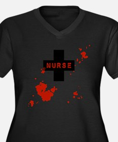 Evil Bloody Nurse Women's Plus Size V-Neck Dark T-