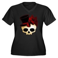 Cute Gothic Skull In Top Hat Women's Plus Size V-N