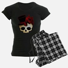 Cute Gothic Skull In Top Hat Pajamas