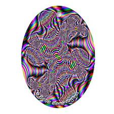 Fractal C~15 Porcelain Oval Ornament