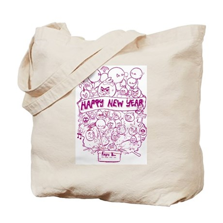 happy new year with angry birds Tote Bag