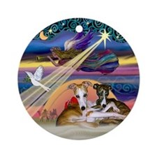 Xmas Star & Whippet Pair (hug) Ornament (Round)