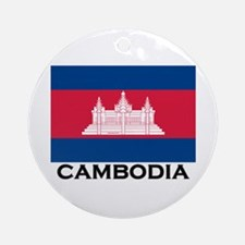 Cambodia Flag Stuff Ornament (Round)