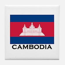 Cambodia Flag Stuff Tile Coaster
