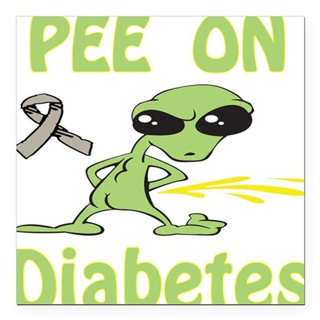 "Pee on Diabetes Square Car Magnet 3"" x 3"""