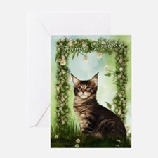 Cat And Roses Birthday Greeting Card