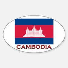 Cambodia Flag Gear Oval Decal