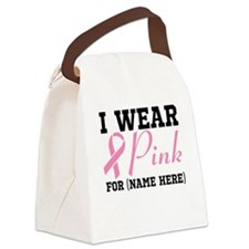 I Wear Pink Canvas Lunch Bag