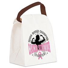 Breast Cancer Tough Survivor Canvas Lunch Bag