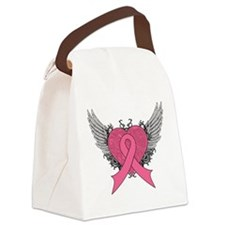 Grunge Winged Breast Cancer Canvas Lunch Bag