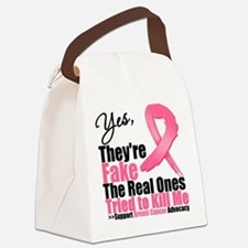 Yes Fake Breast Cancer Canvas Lunch Bag