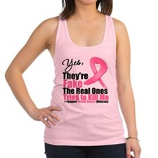 Yes Fake Breast Cancer Racerback Tank Top