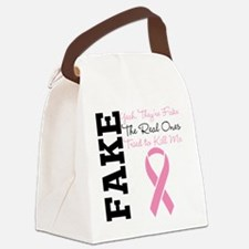 Fake Breast Cancer Canvas Lunch Bag