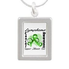 Ribbon Lymphoma Awareness Silver Portrait Necklace
