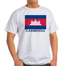 Cambodia Flag Merchandise Ash Grey T-Shirt
