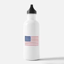 Greyhound Patriotic American Flag Water Bottle