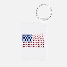 Greyhound Patriotic American Flag Keychains