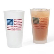 Greyhound Patriotic American Flag Drinking Glass