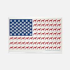 Greyhound Patriotic American Flag Rectangle Magnet