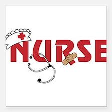 "Nurse Square Car Magnet 3"" x 3"""