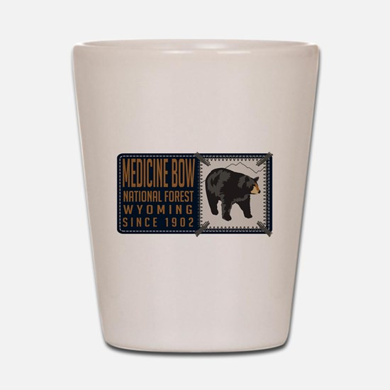 Medicine Bow Black Bear Badge Shot Glass