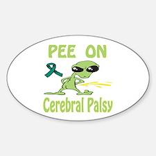 Pee on Cerebral Palsy Sticker (Oval)