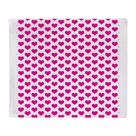 Pink Hearts on White Throw Blanket