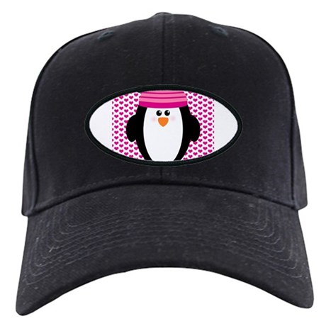 Valentines Day Penguin Black Cap