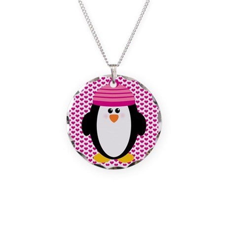 Valentines Day Penguin Necklace Circle Charm