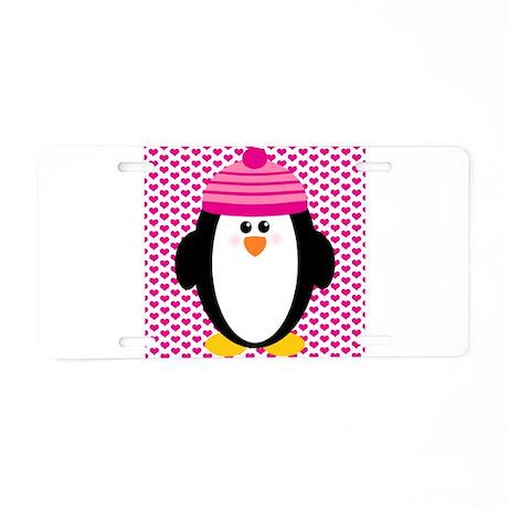 Valentines Day Penguin Aluminum License Plate