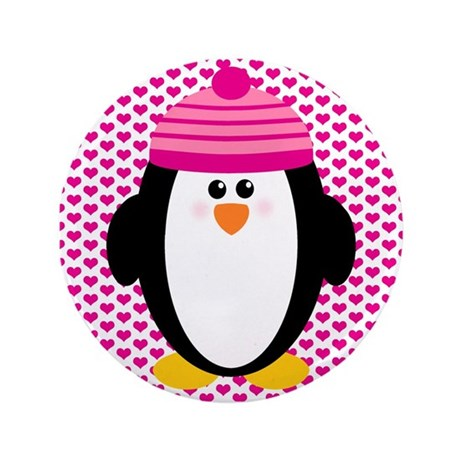 "Valentines Day Penguin 3.5"" Button"