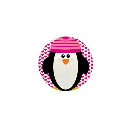 Valentines Day Penguin Mini Button (10 pack)