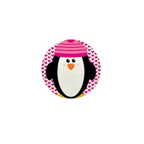 Valentines Day Penguin Mini Button