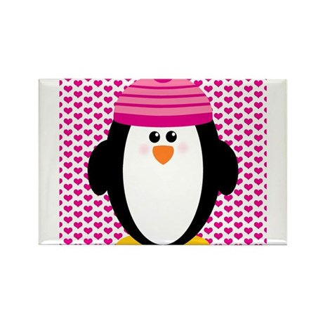 Valentines Day Penguin Rectangle Magnet (100 pack)