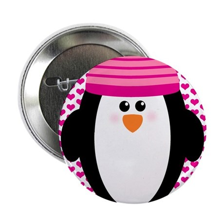 "Valentines Day Penguin 2.25"" Button"