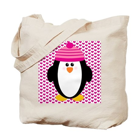 Valentines Day Penguin Tote Bag