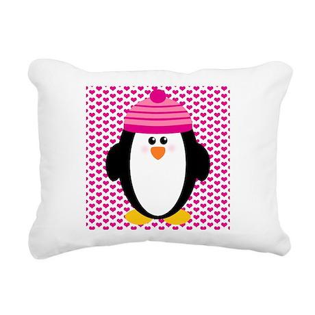 Valentines Day Penguin Rectangular Canvas Pillow