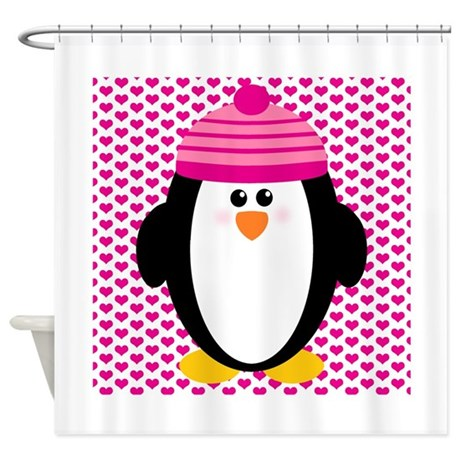 Valentines Day Penguin Shower Curtain