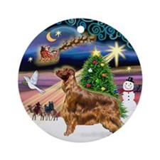 Xmas Magic & Irish Setter (stand) Ornament (Round)
