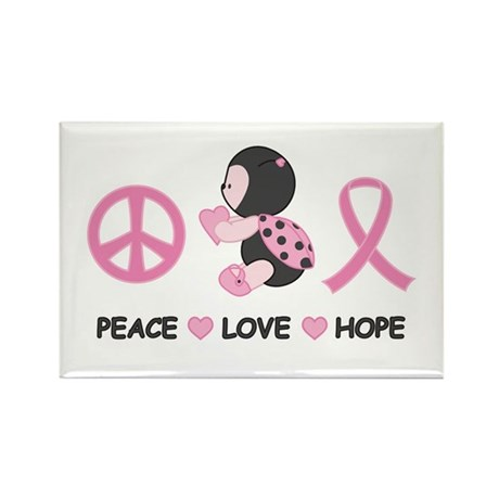 Ladybug Peace Love Hope Rectangle Magnet (100 pack
