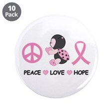 "Ladybug Peace Love Hope 3.5"" Button (10 pack)"