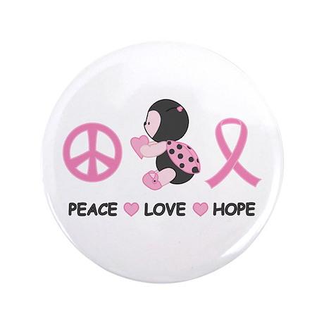 "Ladybug Peace Love Hope 3.5"" Button (100 pack)"